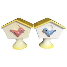 Vintage Ceramic Bird Houses Salt and Pepper Mid Century Enesco Set