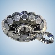 Fostoria Coin Glass  Bowl with Frosted Medallions and Handle in Clear Glass