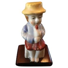 Occupied Japan Figurine , Miniature Porcelain Man with Flute