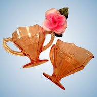 Pink Depression Glass Sugar Creamer Set by Liberty Glass Co. 1930's