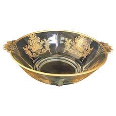 Depression Glass Bowl from Paden City Glass Co in Gothic Gardens Pattern, Gold and Clear