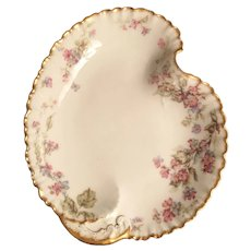 Haviland & Co Limoges China Dish, Leaf Shape, Pink Flower Sprays, Gold Edge