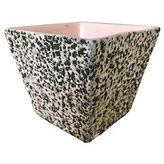 Shawnee-Kenwood Splatter Glaze Ceramic Planter Pink and Black
