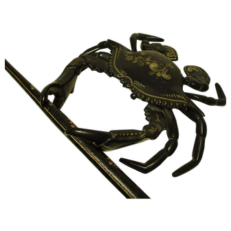Metal Crab-Shaped Inkwell