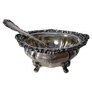 Sterling Open Salt Along with a Louis XV Pattern Salt Spoon