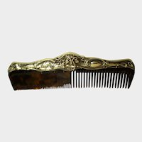 Sterling Mounted Art Nouveau Comb