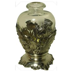 Art Nouveau French Silver Vase Sleeve with Glass Insert (Ca. 1900)