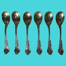 Set of 6 Gorham Sterling Old Baronial Egg Spoons, Patented 1897