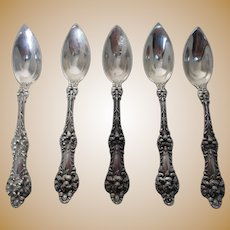 Set of 5 Sterling Alvin Majestic Fruit Spoons Patented 1900