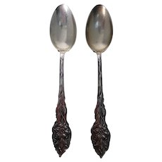 Pair of Unger Brothers Teaspoons Pre-1900 - Narcissus Pattern