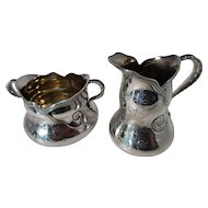 Sterling Cream Pitcher and Sugar Bowl by Wood and Hughes (1871-1899)