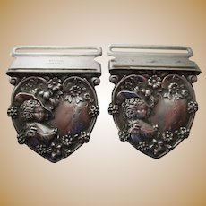 Pair of Antique Sterling Suspender Buckles Ca. 1900