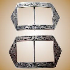 Antique Pair of Sterling Shoe Buckles