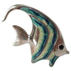 Sterling and Enamel Vintage Fish