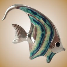 Sterling and Glass Vintage Fish
