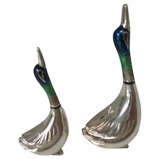 Vintage Sterling and Enamel Miniature Sculptures of Ducks