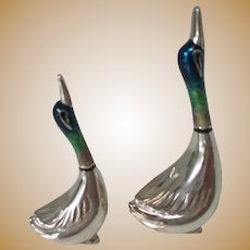 Vintage Sterling and Enamel Miniature Sculptures of Ducks