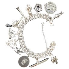 Sterling Charm Bracelet & Charms of Military Interest