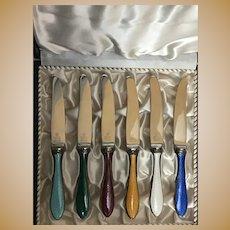 Vintage set of Silver and Enamel Danish Fruit Knives