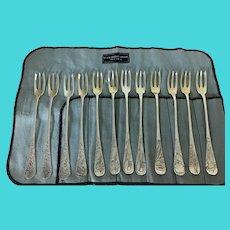 Set of Twelve Sterling Cocktail Forks
