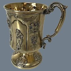 Antique Silver Gilt Christening Cup
