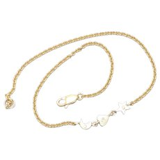 18KT Yellow Gold Chain Moon Heart Star Charm Ankle Bracelet