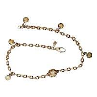 14K Yellow Gold Italian Natural Citrine Ankle Bracelet