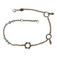 14K Yellow Gold Italian Turquoise Floral Diamond Cut Ankle Bracelet
