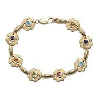 14 KT Gold Multi-Gemstones Bracelet
