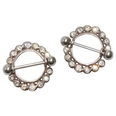 Vintage Sterling Silver White Cubic Zircon Pins of Two