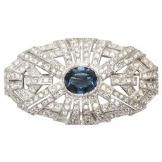 Sterling Silver Blue Topaz and White Cubic Zircon Brooch