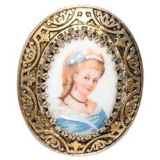 Vintage Ceramic Hand Painted Women Portrait Brooch