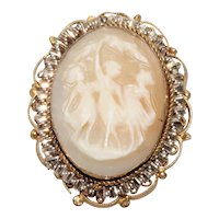 Vintage Gold Filled Cameo Three Graces Brooch
