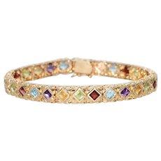 14 KT Gold Multi Gemstone Bracelet