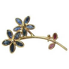 Vintage 18K Yellow Gold Sapphire and Ruby Floral Brooch