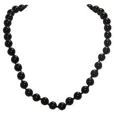 Vintage Black Onyx Stone Necklace