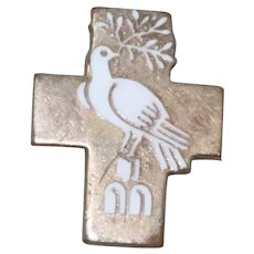 Vintage White Enamel Dove Cross Pin