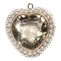 Vintage 14K Yellow Gold Smoky Topaz Cultured Pearls Heart Brooch Pendent