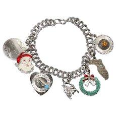 Vintage Sterling Silver Christmas Charm Bracelet