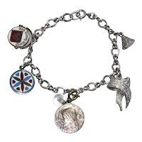 Vintage Sterling Silver Old Disney Charm Bracelet