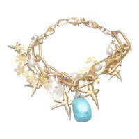 Vintage Costume Turquoise Paste Charm Bracelet