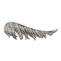 Costume Cubic Zirconia Feather Brooch