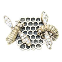Vintage Costume Cubic Zirconia Honeybee Brooch