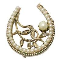Vintage Costume Cultivated Pearl Leaf Design Brooch