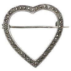 Vintage Sterling Silver Marcasite Heart Pin