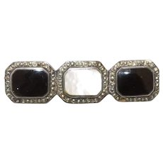 Sterling Silver Black Onyx Mother of Pearl Marcasite Pin