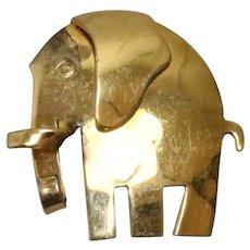 Vintage Sterling Silver Gold Overlay Elephant Brooch