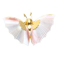 Vintage Costume Pink Shell Butterfly Pin