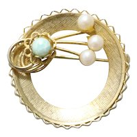 Vintage Costume Pearl Green Stone Open Circle Brooch