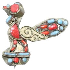 Vintage Coral Turquoise Bird Brooch